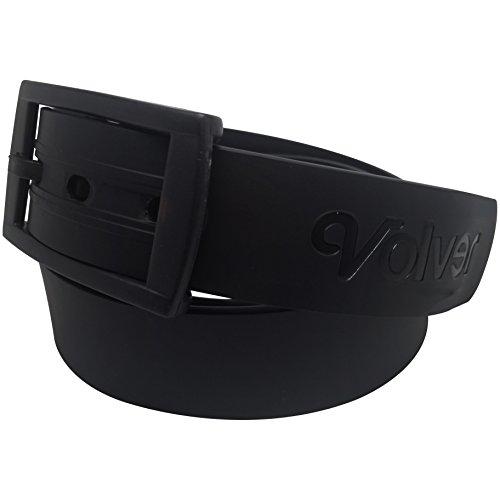 Volver Cool Rubber Golf Belts for Men Adjustable Cut-to-fit Interchangeable Colors (Sleek Black) (Metal Free Belt)