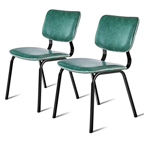 Giantex 2Pcs Dining Chairs Modern Armrchairs PU Leather Home Dining Room Furniture Reception Chairs Guest Side Chairs w/Padded Seat Metal Legs, Green