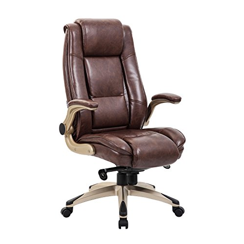Ultimate Leather Executive Chair - KADIRYA High Back Bonded Leather Executive Office Chair - Adjustable Recline Locking Mechanism,Flip-up Arms Computer Desk Chair,Thick Padding and Ergonomic Design for Lumbar Support (Brown)