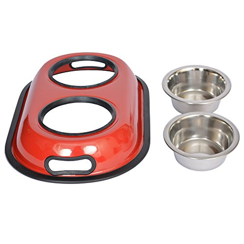 Iconic Pet 4-Cup Color Splash Stainless Steel Double Diner for Dog/Cat, 32-Ounce, Red by Iconic Pet (Image #2)