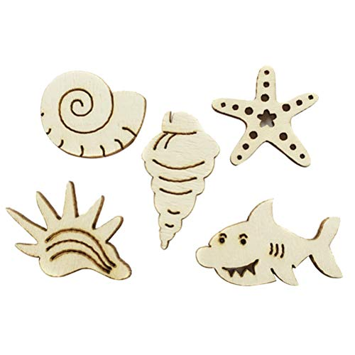 Amosfun 100pcs Unfinished Wood Cutouts Wood Sea Animal Shape Natural Wood Pieces for DIY Crafting Ornament Decorations (Mixed Package) (Sea Animal Shape)