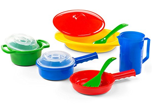 Kidzlane Toy Pots and Pans Kitchen Accessories, Durable and Safe Pretend Play Cookware for Toddler ()