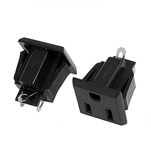 Willwin 10Pcs Black US 3 Pins Power Socket Plug Panel Screw Mount Type Female Connectors Adapter