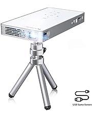 FLOUREON 100 ANSI Lumen Mini Beamer, Mini Pico 1080P Full HD Heimkino Videoprojektor, 30,000 Stunden, Tragbarer DLP Projektor, Plug und Play, Unterstützung mit HDMI USB Eingänge, Weiß