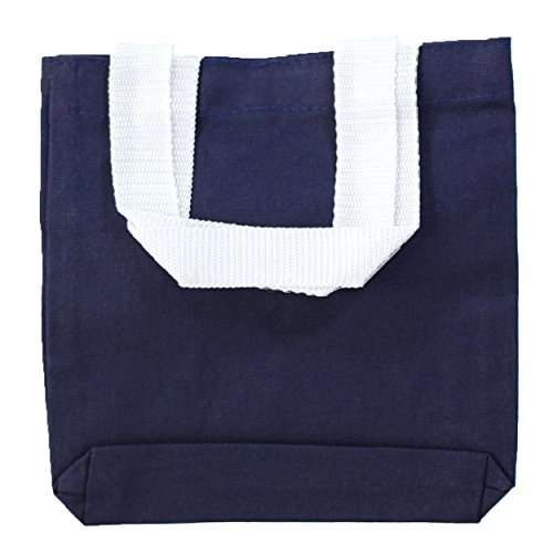 BagzDepot (12 PACK) 100% Canvas Tote Bags with Poly Handles and Bottom Gusset, Mini Gift Bags, Reusable 8''W x 8''H x 1.5''D Arts and Crafts Decorating Small Gift Kids Canvas Bags - TC208 (Navy) by BagzDepot