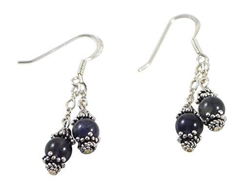 Dangling Iolite Earrings - French Hooks, Sterling Silver