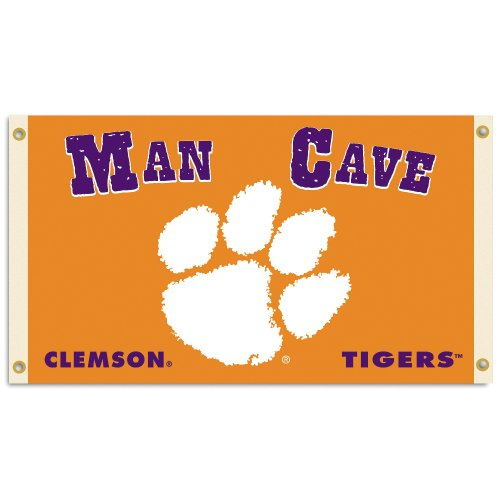 BSI NCAA Clemson Tigers Man Cave Flag with 4 Grommets, 3 x 5-Feet (Best Small Man Caves)