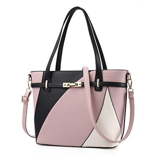 - ❤️Women Shoulder Bag, Neartime Hot New Fashion 2018 Handbag Tote Patent PU Leather Embossed wallets (free, Pink)