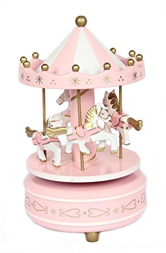 Schoolsupplies New Pink Wooden Merry Go Round Carousel Classic Music Box Kids Girls Gift Toy
