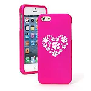 Apple iPhone 5 5S Hot Pink Hard Case Snap on 2 piece Heart Paw Prints