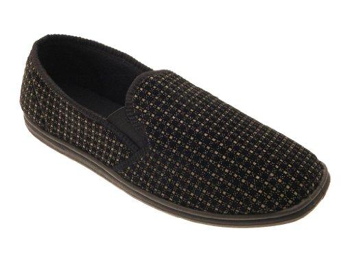 Pelle Size Velour Boys Scarpe On Slip Tan In Check Mules Eco Gents Grigio Uk 6 Side 12 Gusset Mens Slippers OF85zxv