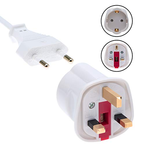 EU to UK Adapter Schuko Euro Socket 2 Pin to 13 Amp 3 Pin Plug Type C to Type G | International Universal European…