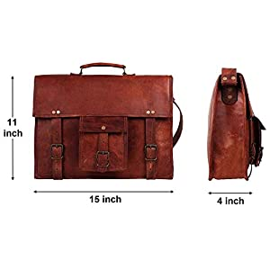 15 Inch Leather Vintage Rustic Crossbody Messenger Courier Satchel Bag Gift Men Women ~ Business Work Briefcase Carry…