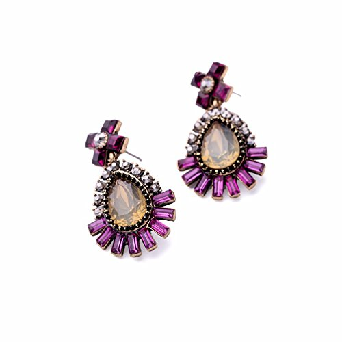 JD Million shop Charming Water Drops Pendants Statement Earrings Champagne With Purple Women Jewelry Accessories