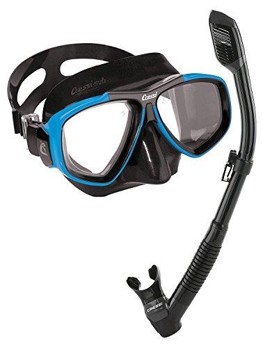 Cressi Focus Snorkeling Dive Mask with 100% Dry Snorkel Set, Black Blue