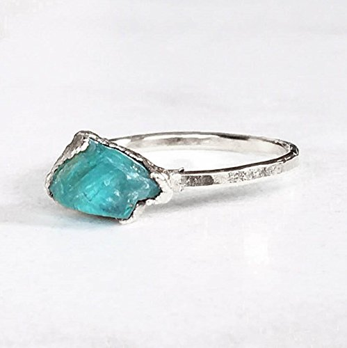 SIZE 6 Raw Crystal Ring, Sterling Silver, Boho Jewelry, Rough Apatite (Band Yellow Womens Box)