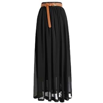Tobey Vintage Women's Pleated Long Chiffon Waist Maxi Boho Beach Skirt Dress (Black)