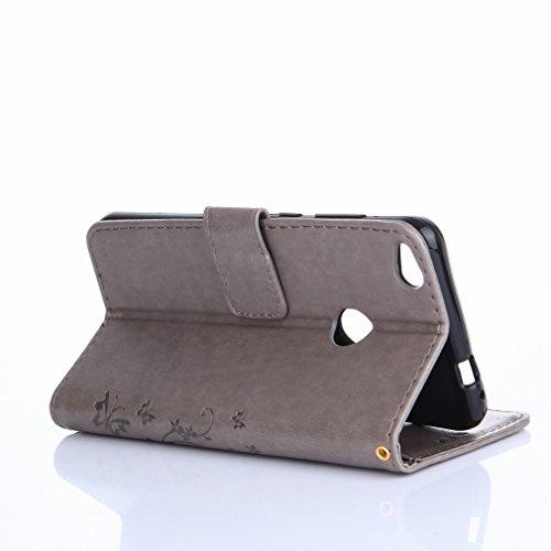 Yiizy Huawei P8 Lite (2017) / Honor 8 Lite Custodia Cover, Erba Fiore Design Premium PU Leather Slim Flip Wallet Cover Bumper Protective Shell Pouch with Media Kickstand Card Slots (Grigio)