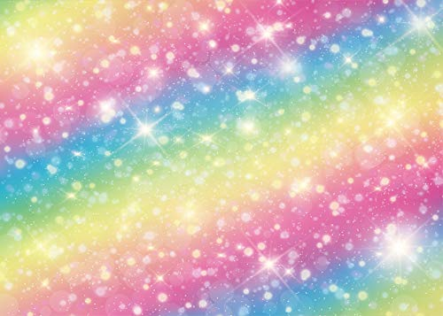 WOLADA 7x5ft Rainbow Bokeh Backdrop Colorful Rainbow Twinkle Spots Sparkle Stars Baby Girl Happy Birthday Party Photography Backdrop Newborn Baby Show Cake Table Decor Banner Photo Studio Props 11601
