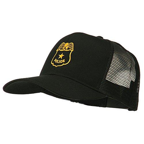 E4hats Police Badge Embroidered Mesh Cap - Black OSFM -