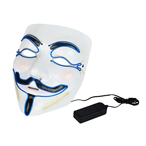 Creative Luminous EL Wire V for Vendetta Led Mask Halloween Light Up Cosplay Mask Costume Fawkes Anonymous for Halloween Show Festival (V Is Vendetta)