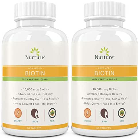 Advanced Biotin with Keratin (2-Pack) | 10000 mcg Biotin – 100 mg Keratin – Promotes Healthy Hair, Skin & Nails - Helps Convert Food Into Energy - Time Released – 120 Tablets
