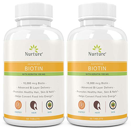 (Advanced Biotin with Keratin (2-Pack) | 10000 mcg Biotin - 100 mg Keratin - Promotes Healthy Hair, Skin & Nails - Helps Convert Food Into Energy - Time Released - 120 Tablets)