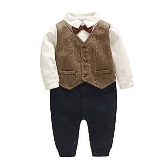 Feidoog Newborn Gentleman One Piece Long Sleeve Baby Boys Gentleman Formal Tuxedo Outfit Suit (0-3M, Brown)