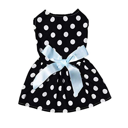 Jim-Hugh 1PC Sweet Pet Dog Puppy Dress Poodle Black White Dotted Princess Dress with Bowtie On The Back Cute Clothes