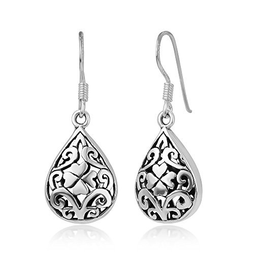 925 Oxidized Sterling Silver Filigree Four Leaf Clover Puffed Teardrop Dangle Hook Earrings 1.2