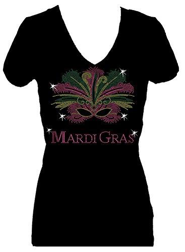 Mardi Gras Mask Rhinestone New Orleans Womens V Neck Short Sleeve Tee Shirt (2X) Black