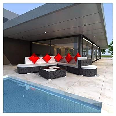 K&A Company Outdoor Furniture Set, Garden Lounge Set 27 Pieces Poly Rattan Black