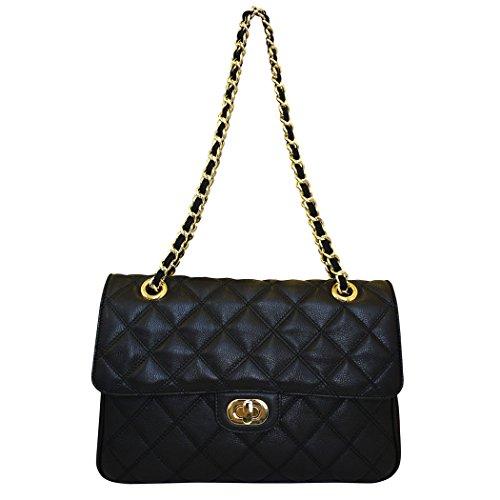Acolchada bolso del bolso de hombro de cuero Carbotti diseñador de las mujeres - negro