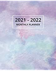 2021-2022 Monthly Planner: Two Year Planner Calendar Schedule Organizer - 24 Months | Purple Watercolor Cover