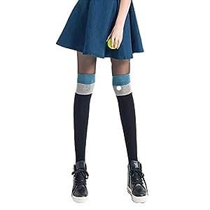 Knee High Socks Students Long Stockings Athletic Socks,Black&Blue