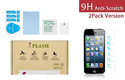 (iFlash® 2 Pack of Premium Tempered Glass Screen Protector For Apple iPhone 5/5S/5C - Protect Your Screen from Scratches and Bubble Free - Maximize Your Resale Value - 99.99% Clarity and Touchscreen Accuracy (2Pack, Retail Package))