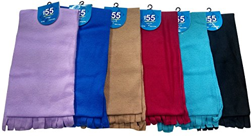 Womens Winter Fleece Scarfs, Warm (6 Pieces Assorted Solid)