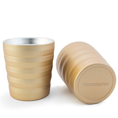 Classic Espresso Lungo Double Wall Stainless Steel Cup Set of 2, 8 Ounces Verre Collection (Gold)