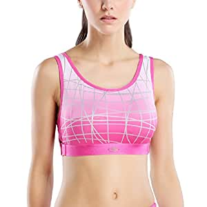 Yvette High Impact/Wire Free /Adjustable Band Running Sports Bra #8019, Rose, 44D/100D
