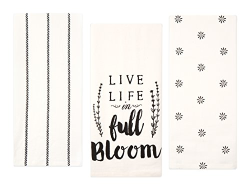 Sticky Toffee Cotton Flour Sack Kitchen Towels, Live Life Stripe and Flower Prints, 3 Pack, 28 in x 29 in