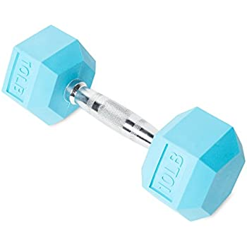 CAP Barbell SDR2-010 Color Coated Hex Dumbbell, Light Blue, 10 pound