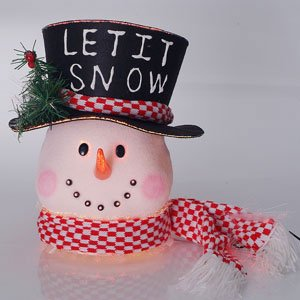 12 let it snow fiber optic snowman head christmas table top decoration