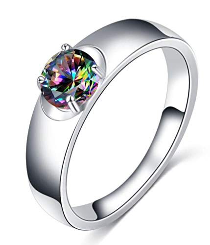 Wide Band Rings for Women,14k Silver White Gold Stackable Ring with Round Cut Rainbow Topaz