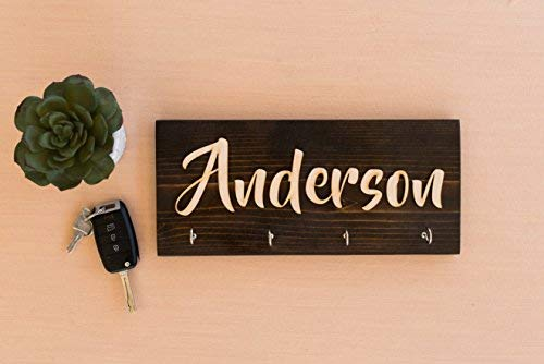 Personalized Wall Key Hanger Unique Custom Key Ring /& Jewelry Rack Holder Customize with Your Name Dark Rustic Natural Wood 4 Hooks Decorative Kitchen Garage Living Closet