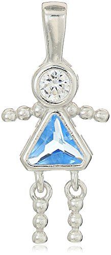 Sterling Silver AAA Cubic Zirconia Simulated Birthstone Babies Girl Charm, (Birthstone Charm)