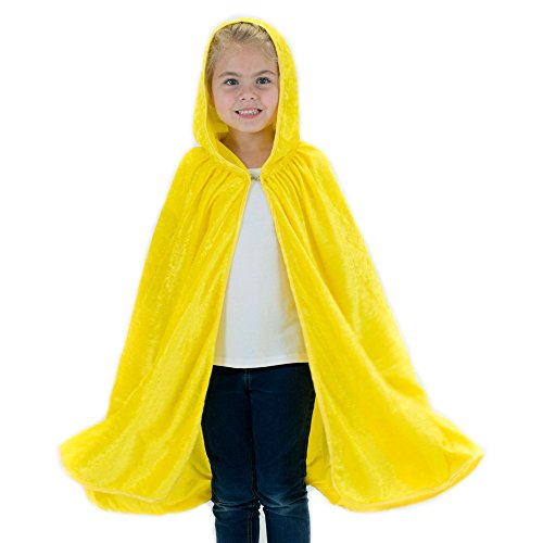 Kids Cosplay Hooded Cloak Cape - Yellow -