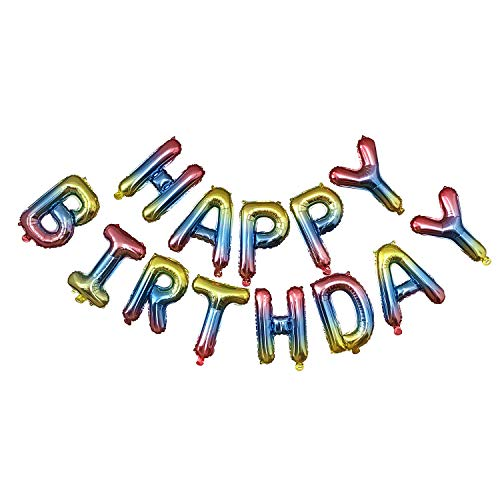 Happy Birthday Balloons, 16 inches Aluminum Foil Banner