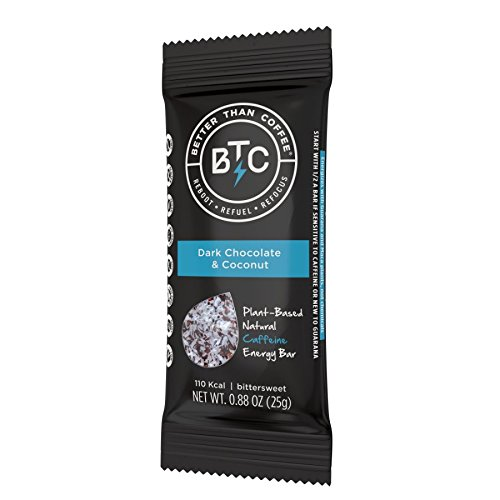 Review Better Than Coffee Energy Bars, 100mg Caffeine (Dark Chocolate Coconut, 12 count)