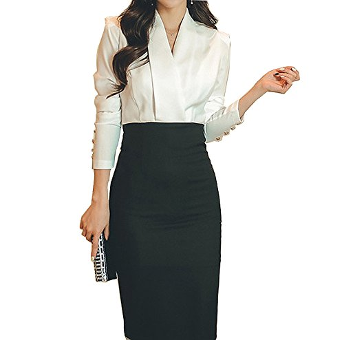 Honwenle Women Office Ladies White Black V-Neck Color Block Pencil Bodycon Dresses for Work,White,Large