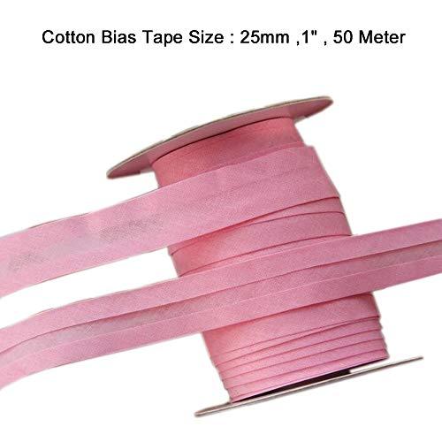 LaceQiao 50m/lot 100% Cotton Bias Tape, bias Binding Tape DIY fold Tape Size:25mm Width:1